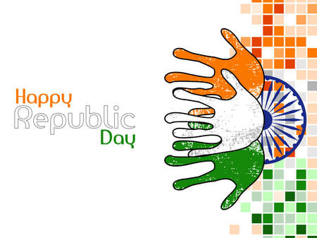 republic day: An illustration of three hands colored in an Indian National flag colors on Ashok wheel background for Republic Day.