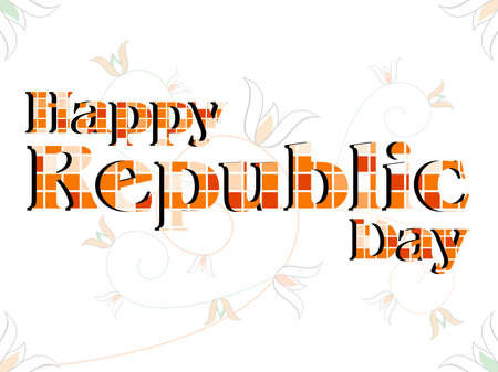 26: An illustration of a text Happy Republic Day made with blocks on floral background for Republic Day.