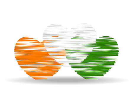 An illustration of three hearts colored in an Indian National Flag colors with copy space for Republic and Independence Day. Vector