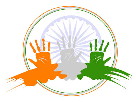 ashok: An illustration of three hands colored in an Indian National flag colors on Ashok wheel  frame background for Republic Day and Independence Day.
