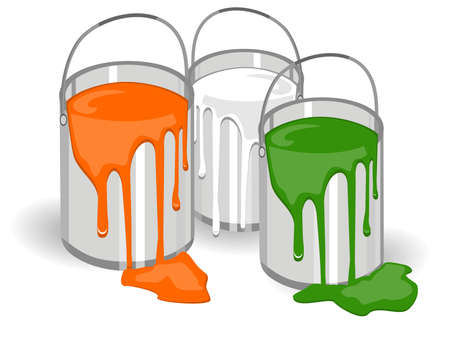 An illustration of three baskets full of paints in an Indian t color on isolated background for Republic and Independence Day and Republic Day. Stock Vector - 11819070