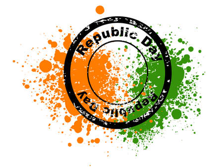 constitution day: An illustration of rubber stamps in black color having Republic Day text  on colorful grunge background for Republic Day and Independence Day. Illustration