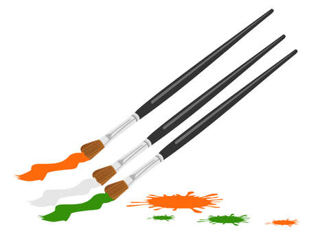 26: An illustration of three paint brush color in Indian trio color with copy space for Republic Day and Independence Day.