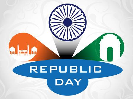 asoka: 3D illustration for Republic Day having Asoka wheel, India Gate and Red Fort with text copy space. Illustration