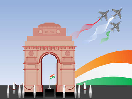 constitution day: illustration of Republic Day and Independence Day in front of India Gate. Illustration