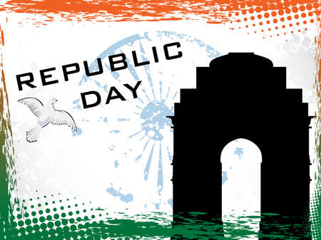 india gate: illustration of Republic Day on grunge border background with India Gate and Asoka Wheel. Illustration