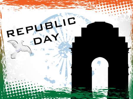 constitucion: ilustración del Día de la República en el fondo frontera grunge con Puerta de la India y la rueda de Asoka.