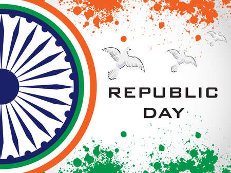 constitution day: illustration of decorative Indian National Flag with flying pigeons on grunge background for Independence Day and Republic Day.