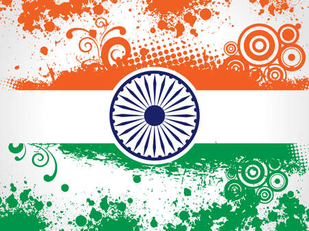 constitution: illustration of decorative Indian National Flag having floral and grunge work for Independence Day and Republic Day.
