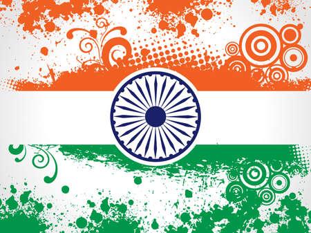 constitucion: ilustración de la decoración de la bandera Nacional de la India con el trabajo y el grunge floral para el Día de la Independencia y Día de la República.