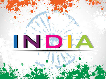 asoka: illustration of colorful text India with Asoka wheel on colorful grunge background for Independence Day and Republic Day. Illustration