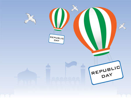 asoka: illustration of Republic Day showing freedom, flying pigeons and parachute having text board on seamless background.