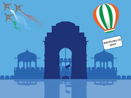 democracia: ilustraci�n del D�a de la Rep�blica frente a la Puerta de India, paraca�das volando tener un D�a de la Rep�blica de texto y un helic�ptero con bandera india.