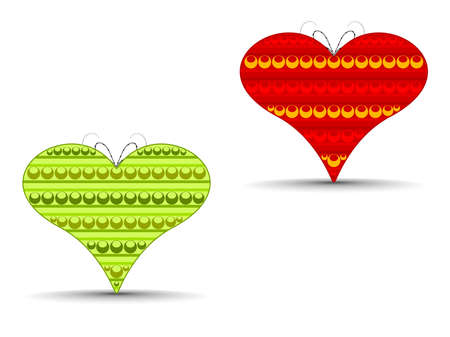 Vector illustration of two abstract heart shapes in red and green color on isolated background for Valentines Day. Stock Vector - 11895086