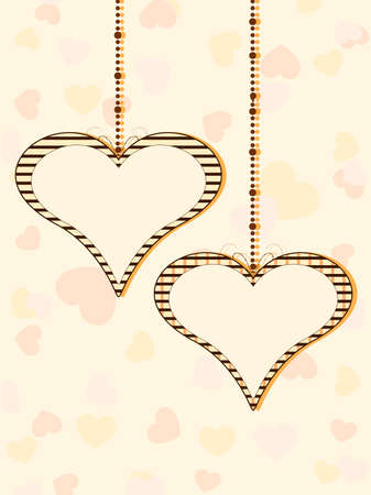 corazones: Vector illustration of two hanging heart shapes with copy space on colorful seamless heart shapes background for Valentines Day.