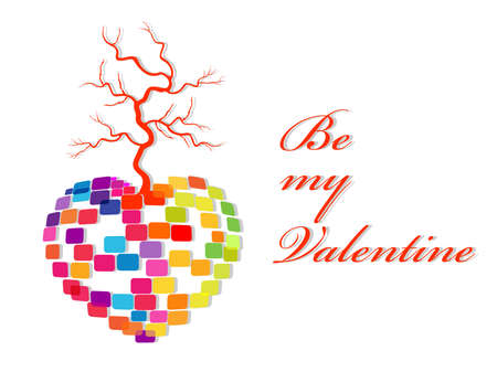 Vector illustration for Valentines Day having colorful heart shape made with blocks and dry tree with text. Vector