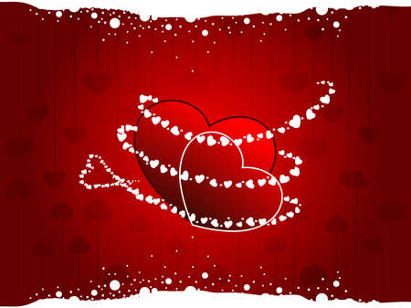 Vector illustration of a two heart shapes  on seamless heart shape background in red colors with white dotted effect for Valentines Day. Vector