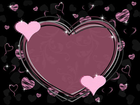 Vector illustration of a heart shape frame with seamless floral work and shiny heart shape with texture on black background for Valentines Day. Vector