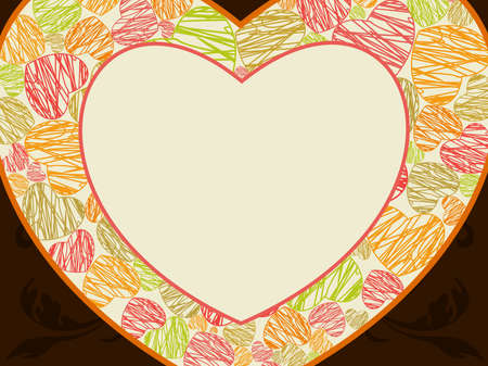 other space: Abstract heart shape frame made with colorful hearts  and copy space on seamless brown background for valentines day and other occasions.