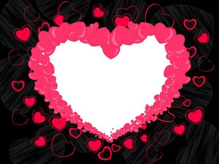 other space: Abstract heart shape frame made with pink heart and copy space on seamless black background for valentines day and other occasions.