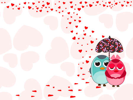 corazones: Vector illustration of two love birds under with umbrella on heart shape background for Valentines Day. Illustration