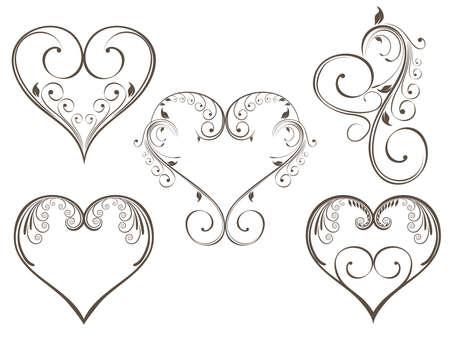 calligraphique: Vector illustration de forme de conception de coeur de cru d�cor� avec style floral de couleur grise sur fond isloated pour la Saint Valentin.