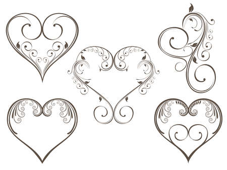 calligraphic design elements: vintage design heart shape decorated with floral style in grey color for Valentine Day.
