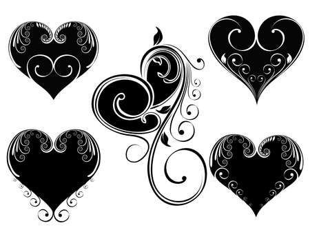 corazones: Vector illustration of vintage design heart shape decorated with floral style in black and white color on isloated background for Valentine Day.