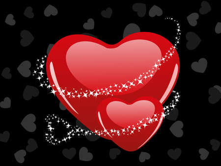 corazones: Vector illustration of two heart shape with shiney stars on grey heart shape background for Valentine Day.