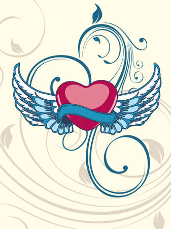 Heart shape having floral decorative wings in blue color on seamless floral background for Valentine Day. Illustration