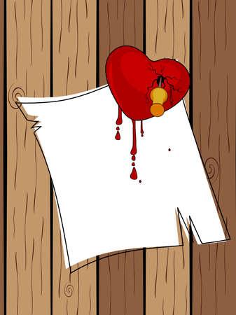 stabbed: Palo del coraz�n roto por un pasador con papel en blanco con gotas de sangre en la ilustraci�n de madera, vector, para el D�a de San Valent�n.