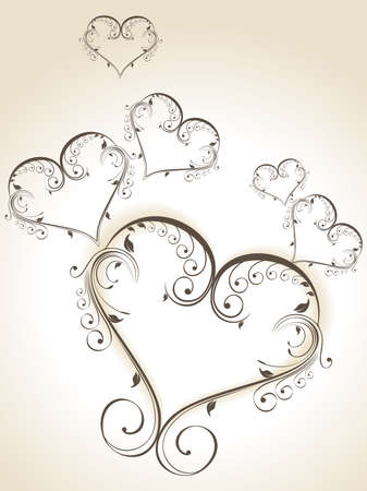 Decorative heart shapes in grey color  made with floral elements on isolated white background for Valentine Day. Vector