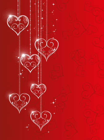 Vector illustration of hanging shiny heart shapes with floral element and stars on red seamless heart shape background for Valentine Day. Vector