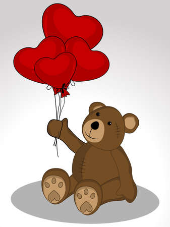 Teddy Bear keeps the balloons in the form of heart shape on white background for Valentines Day.