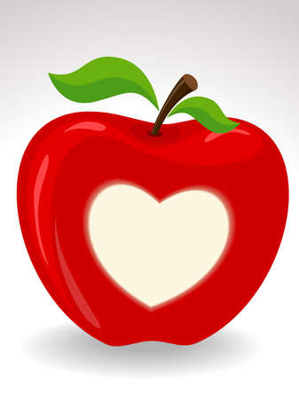 Vector illustration of a Red Apple with heart symbol on isolated background for Valentines Day. Vector