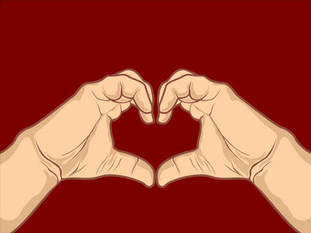 Heart shape design made with hand drawing on maroon background for Valentines Day and other occasions. Vector