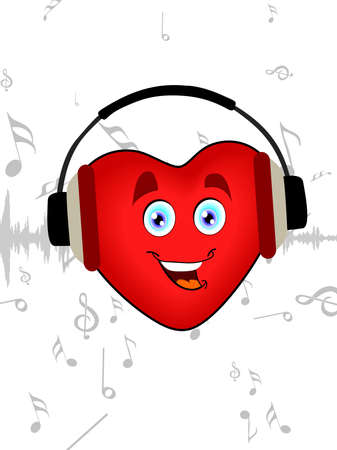 Illustration of a happy heart shape listening music with headphone on seamless music background for Valentines Day. Vector