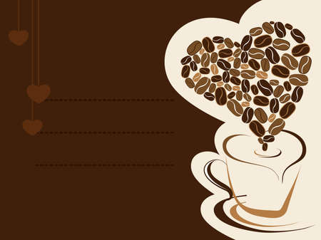 Coffee for your loved one and place for text on brown background, Greeting card for Valentine Day. Vector