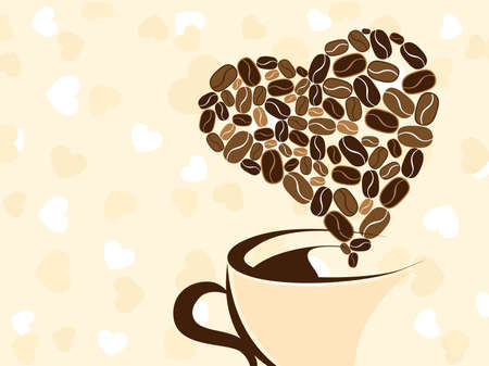 coffeehouse: Coffee for your loved one and place for text on brown background, Greeting card for Valentine Day. Illustration