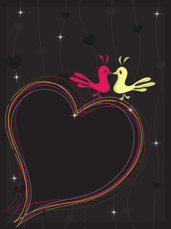 A colourful heart made with lines and the couple of two love birds on seamless background for Vector illustration Vector