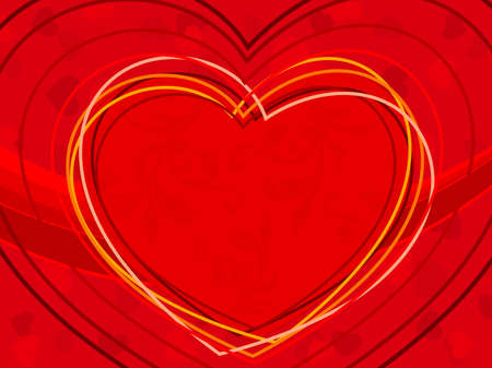 vector illustration of heart shapes made with colorful lines on red color seamless background for Valentines Day. Vector