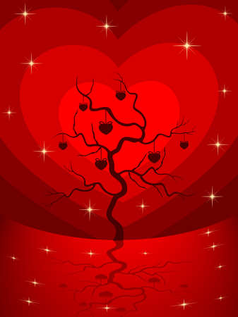 Vector illustration of a love tree having hanging heart shapes with shiny stars on heart shape background for Valentines Day. Vector