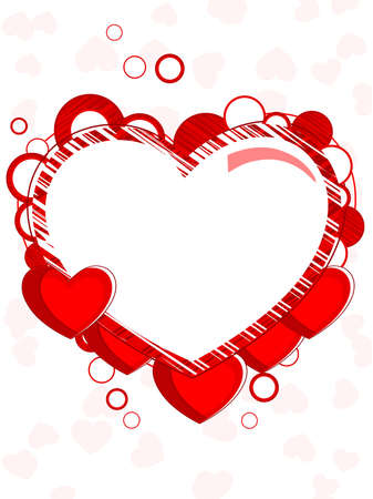 Abstract heart shape frame made with red heart and copy space on seamless background for valentines day and other occasions. Vector