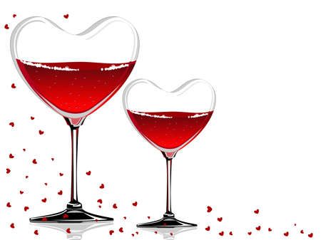 red wine pouring: Vector illustration of a wine glass in a heart shape with red wine on white background concept for Valentines Day.