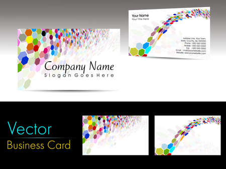 vector Set of colorful  abstract honeycomb concept business cards