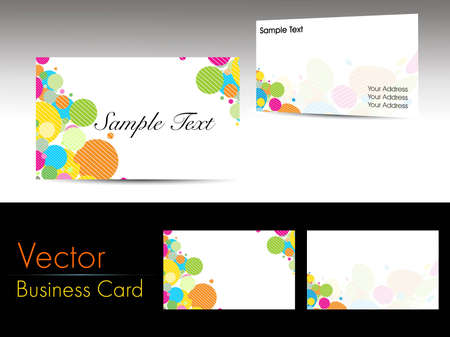 Set of colorful graphic shapes concept business cards on grey background