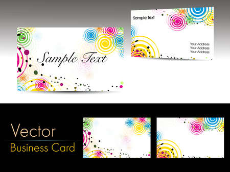 set of colorful abstract theme business card on grey background with presentation Illustration