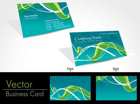 abstract green wave concept vector business card with beautiful presentation Vector