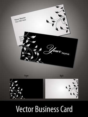 visiting card design: Vector business cards or gift card with elegant floral design