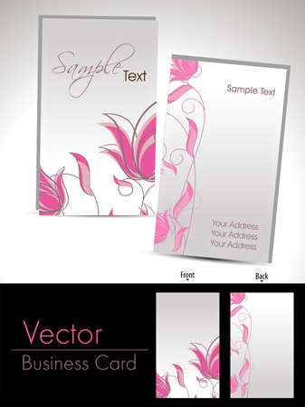pink elegant florl design vertical business cards or gift cards Vector